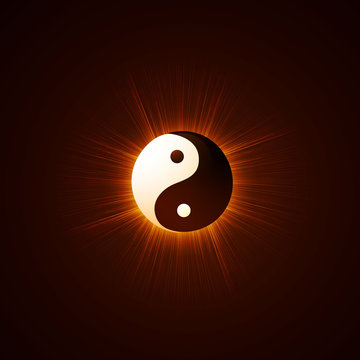 Vector illustration of a philosophy concept of the east. Yin Yang.