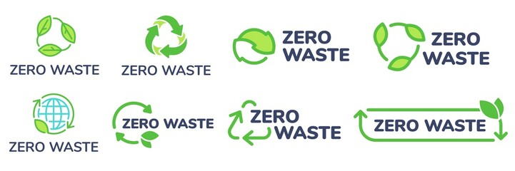 Zero waste labels. Green eco friendly label, reduce waste and recycle icon with plant leaves vector set. No plastic ecological protection logo with green recycling arrows signs