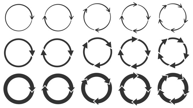 Circle arrows. Round reload or repeat icon, rotate arrow and spinning loading symbol. Circle pointer vector set. Circular rotation loading elements, redo process isolated black pictograms