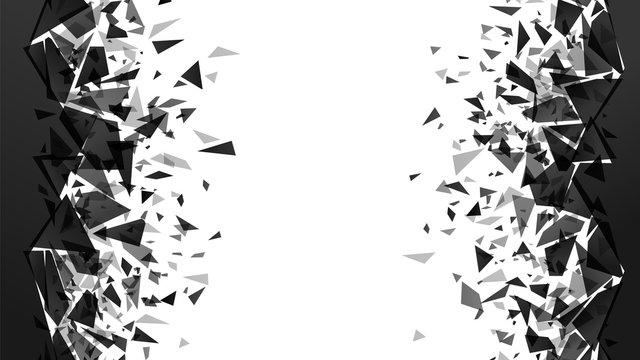 Abstract shatter destruction background. Broken debris pieces, black triangles walls destruction and shattered wall explosion vector background. black particles decoration texture