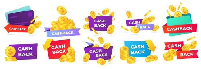 Cashback badges. Money return label, shop sale offers and cash back banner. Golden coins in wallet vector illustration set. money back from purchases and payment stickers