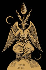 Goat headed demon Baphomet with torch on top of his head and big black wings siting an pointing with his hands on two moons.