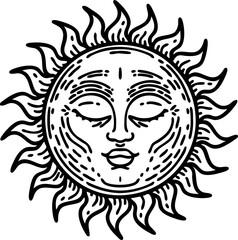 black line tattoo of a sun