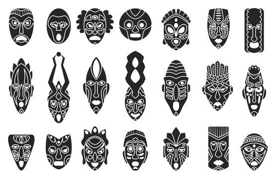 African mask black set icon.tribal African mask black vector illustration on white background .Vector illustration set icon face voodoo.