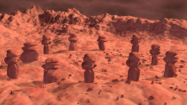 Stone structures on ancient alien world. Martian monuments , artifacts . 3d rendering illustration