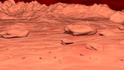 Foto op Aluminium Koraal Alien World . Exoplanet Surface desert landscape . 3D rendering illustration