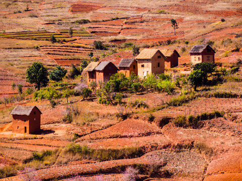 Panoramic view of typical bara village in the countryside of the National Route 7 near Antsirabe, Madagascar