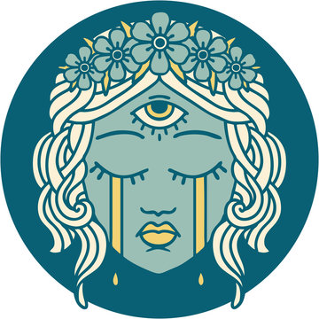 tattoo style icon of female face with third eye crying