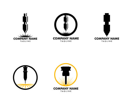 Set of Laser Cutting Machine Logo Design Icon Vector Illustration, CNC Laser Machine Head, Laser Engraving Machine
