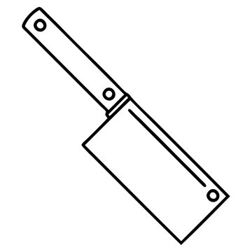 black line tattoo of a meat cleaver