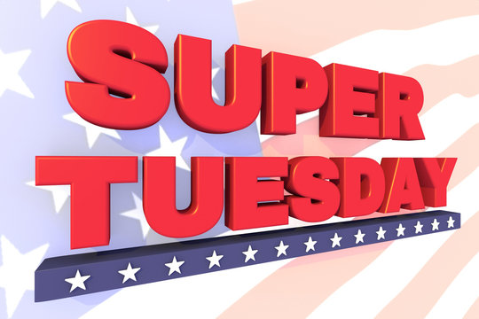 Super Tuesday header or banner for United States primary day. 3d illustration.Print for paper or t-shirt