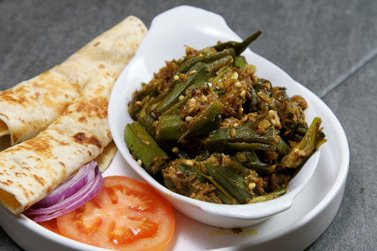 Bhindi Masala or stuffed Bhindi or okra, an Indian vegetable
