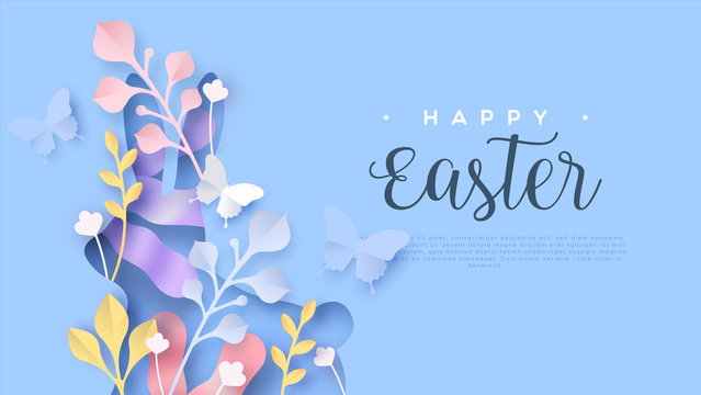Happy easter web template paper cut spring rabbit