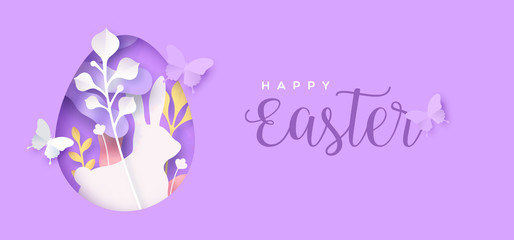 Happy easter papercut flower egg and rabbit card