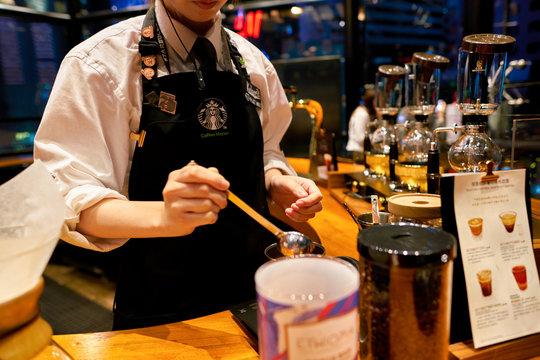 SHENZHEN, CHINA - CIRCA FEBRUARY,  2019: barista prepare coffee at Starbucks Reserve in Shenzhen.