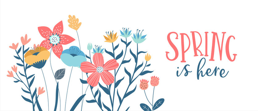 Spring season card of hand drawn cute flowers