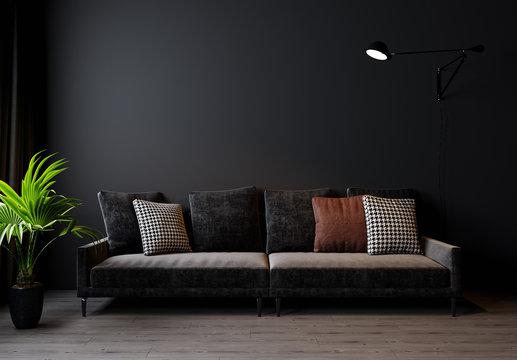 Modern living room interior background, dark wall, Scandinavian style, 3D illustration. Living room mockup. 3d rendering