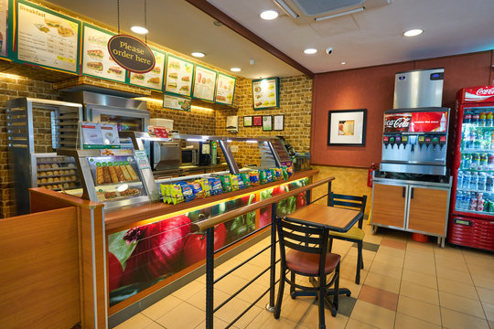 SINGAPORE - CIRCA APRIL, 2019: interior shot of Subway restaurant. Subway is an American restaurant franchise that primarily sells submarine sandwiches and salads.
