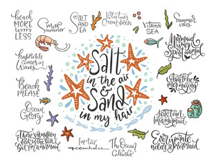 Summer sea lettering big vector set. Ocean quotes and clip art collection. Perfect for t shirt, card print design. Graphic nautical marine theme illustration. Salt in the air sand in my hair.