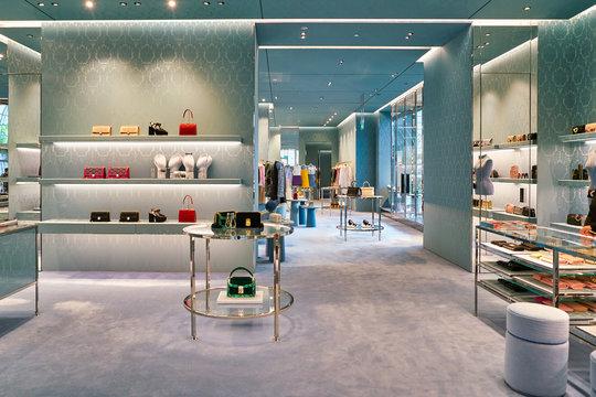 SINGAPORE - CIRCA APRIL, 2019: goods on display at Miu Miu store in The Shoppes at Marina Bay Sands.