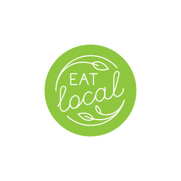 Vector design element, logo design template, icon and badge for natural and organic food - eat local - cirlce badge with hand-lettering
