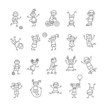 Active children play, run and jump. Happy cute doodle kids. A set of isolated characters. Vector illustration in hand drawn style on white background