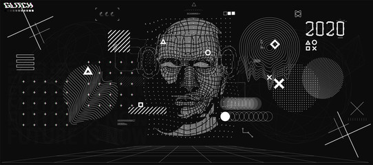 Holographic Ai in humanoid head. Conceptual image Artificial intelligence, Virtual reality, tech shapes, Head Up elements HUD. Biometric technology, Face recognition systems Ai. Cyberpunk VR set Wall mural