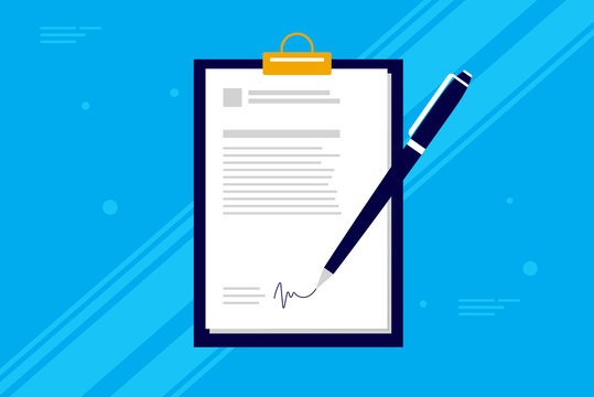 Business contract signing - Pen signing a contract on clipboard with blue background. Simple corporate vector illustration.