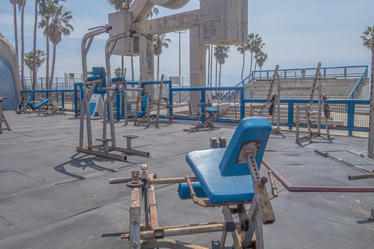 Old outdoor gym at Muscle Beach in Los Angeles