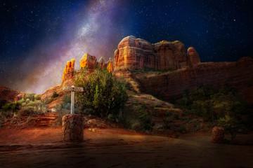 Printed kitchen splashbacks Arizona Sedona Cathedral Rock At Night