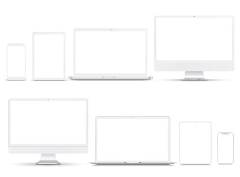 Set white technology devices with white display - stock vector