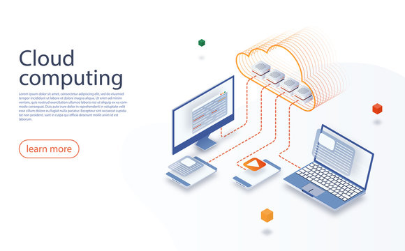 Big data flow processing concept. Cloud Technology illustration. Cloud computing technology users network configuration. Cloud data storage isometric illustration. Data center with digital devices