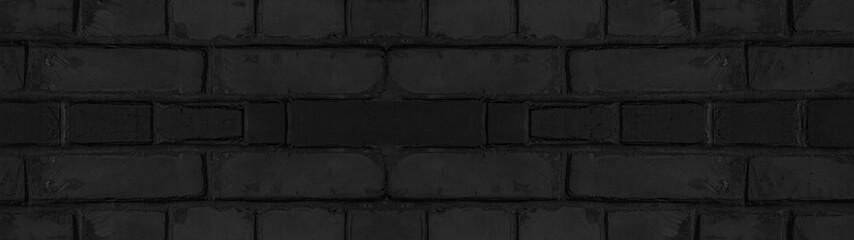 Dark black anthracite damaged rustic brick wall texture banner panorama