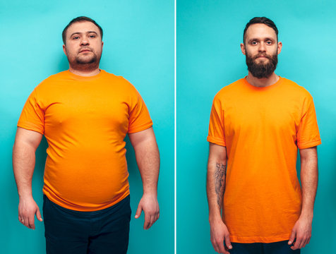 Portrait of man before and after weight loss. Sport or fast food. Sport motivation. Rejection of unhealthy lifestyle. Vegetarian, before after.