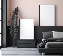 Mockup poster in modern bedroom, 3d render