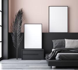 Wall Mural - Mockup poster in modern bedroom, 3d render