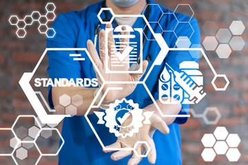Standards Medicine Pharmaceuticals Concept. Qualty Medical Standard Control.