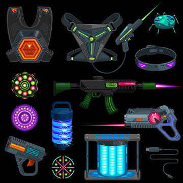 Laser tag game equipment flat collection. Vector illustration of Illuminated computer gamer sport playing tech for lasertag. Neon technology VR lasergun and targets for gaming battle.