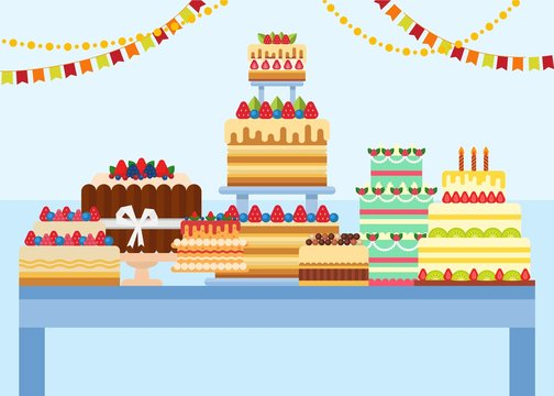 Table with cakes on it vector illustration. Delicious pastries desserts cakes festive decorated with berries, fruits, cream, candles, ribbon. Confectionery, cafe, sweets shop, bakery.