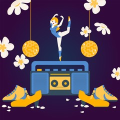 Woman dancing on tape recorder, ballerina cartoon character, vector illustration. Dancer shoes and disco ball, tape recorder in flat style. Ballerina in gymnastic clothes dance to music, graceful girl
