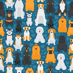 Dogs in seamless pattern, isolated animals cartoon characters, cute pets vector illustration. Different breeds of dogs, printable texture for wrapping paper or fabric. Pet store background, animals