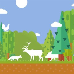 Printed kitchen splashbacks Castle Nature forest animal silhouettes, environment protection concept, vector illustration. Silhouette of deer, fox, wild boar and capercaillie in forest. Hunting season, wild animals, trees in flat style