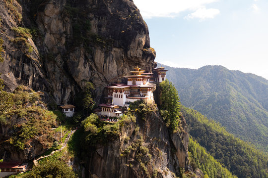The tiger nest monastery in the Himalaya of Bhutan. Also known as Taktsang Lhakhang, Bhutan's most iconic landmark and religious site. The view after a long hiking thru the mountains