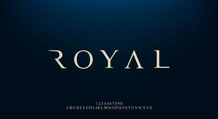 Royal, an elegant alphabet font and number. Premium uppercase fashion Design typography. vector illustration