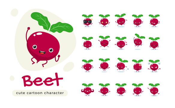 The Cute Red Beet. Isolated Vector Illustration
