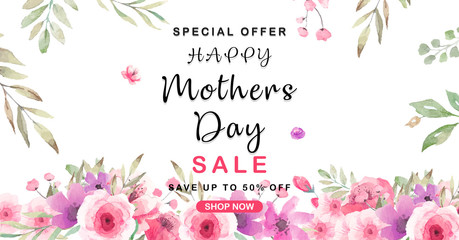 Нappy Mother's Day Sale background with beautiful flowers.Paper cut style. Spring holiday illustration for greeting card, banner, ad, promotion, poster, flyer, blog
