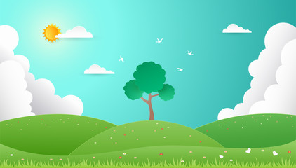 Spring background. Nature landscape in flat design