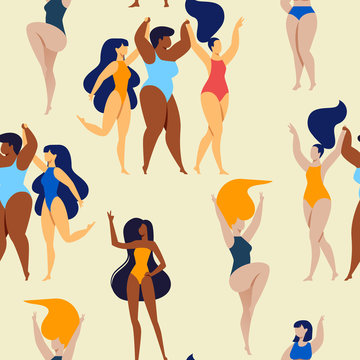 Seamless Pattern of Happy Multinational Plus Size Women in Bikini, Swimming Suits Dancing on Yellow Background. Body Positive, Beauty Diversity, Stop Fatfobia Movement Cartoon Flat Vector Illustration