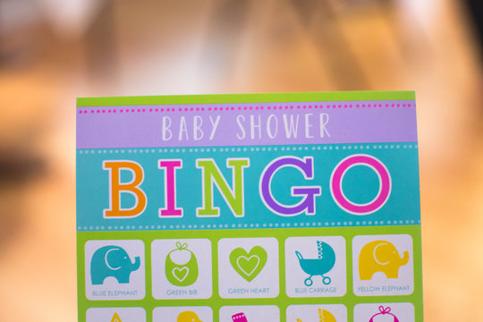 Baby shower bingo card