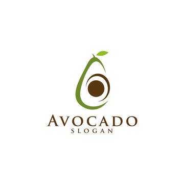 Avocado fruit logo template. Avocado half with leaf vector design. Health food logotype for download